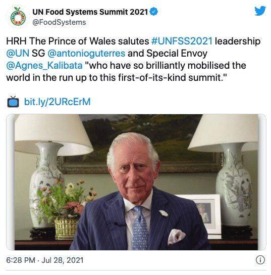 Twitter screenshot of the Prince of Wales